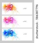 set of watercolor vector... | Shutterstock .eps vector #586387796