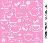 seamless pattern with tea pots... | Shutterstock .eps vector #586389233