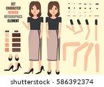 woman character creation set....   Shutterstock .eps vector #586392374