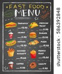 fast food restaurant menu with... | Shutterstock .eps vector #586392848