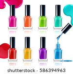 nail polish assortment of... | Shutterstock .eps vector #586394963