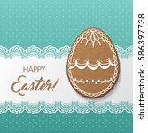 happy easter greeting card with ...   Shutterstock .eps vector #586397738