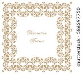 decorative square frame with... | Shutterstock .eps vector #586397750