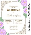 wedding invitation with flowers ... | Shutterstock .eps vector #586397864
