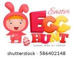 girl in pink bunny costume... | Shutterstock .eps vector #586402148