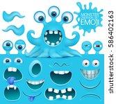 funny octopus emoji monster...   Shutterstock .eps vector #586402163