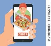 pizza delivery service. e buy... | Shutterstock .eps vector #586402754