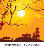 chinese landscape with branches ... | Shutterstock .eps vector #586410050