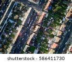 london suburbs  aerial view.... | Shutterstock . vector #586411730