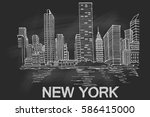 new york skyline. vector sketch. | Shutterstock .eps vector #586415000