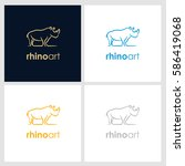 rhino line company logo. wild...   Shutterstock .eps vector #586419068