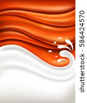 caramel background with milk... | Shutterstock .eps vector #586424570