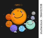 trappist 1 system cute vector...