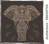 card with elephant made in...   Shutterstock .eps vector #586434704
