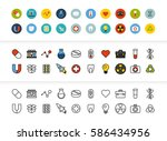 black and color outline icons... | Shutterstock .eps vector #586434956