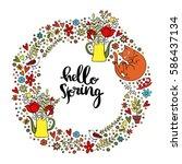 hello spring. spring pattern.... | Shutterstock .eps vector #586437134