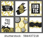 set of hand drawn cards. vector ... | Shutterstock .eps vector #586437218