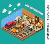 car showroom with managers and... | Shutterstock .eps vector #586437659