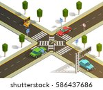 city suburb crossroads... | Shutterstock .eps vector #586437686