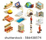 hotel isometric icon set with... | Shutterstock .eps vector #586438574