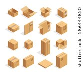 isometric carton packaging box... | Shutterstock .eps vector #586444850