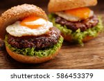 Hamburger With Beef Meat And...