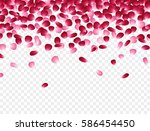red and pink falling flowers... | Shutterstock .eps vector #586454450