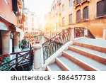 gondolas on canal in venice.... | Shutterstock . vector #586457738