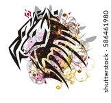 grunge imaginary animal head... | Shutterstock .eps vector #586461980