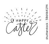 happy easter lettering for... | Shutterstock .eps vector #586464194