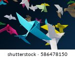 colorful origami paper birds | Shutterstock . vector #586478150