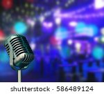 vintage micro phone with...   Shutterstock . vector #586489124
