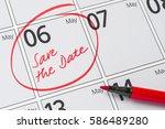 save the date written on a... | Shutterstock . vector #586489280