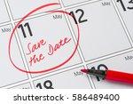 save the date written on a... | Shutterstock . vector #586489400