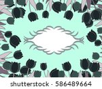 frame of tulips in colors ... | Shutterstock .eps vector #586489664