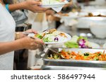 people group catering buffet... | Shutterstock . vector #586497944