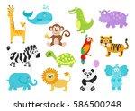 Set Of Cartoon  Animals For...