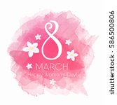 8 March Womens Day Card Vector