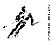 skier made in a grunge technique | Shutterstock .eps vector #586501790
