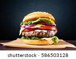 craft beef burger on wooden... | Shutterstock . vector #586503128