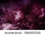 purple nebula and cosmic dust...   Shutterstock . vector #586505330