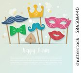 purim holiday banner design... | Shutterstock .eps vector #586506440