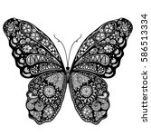 beautiful butterfly doodle | Shutterstock .eps vector #586513334