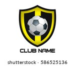 yellow football emblem | Shutterstock .eps vector #586525136
