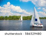regatta sailing boats on a... | Shutterstock . vector #586529480