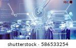 in a futuristic laboratory  a... | Shutterstock . vector #586533254