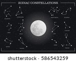 zodiac constellations with moon ... | Shutterstock .eps vector #586543259