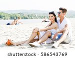 romantic young couple in love... | Shutterstock . vector #586543769