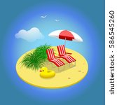 summer vacation. sandy island... | Shutterstock .eps vector #586545260