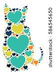 cat shape vector design... | Shutterstock .eps vector #586545650